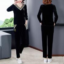 小脚裤两件套女2020秋季新款休闲妈妈35-40-50岁大码减龄显瘦套装