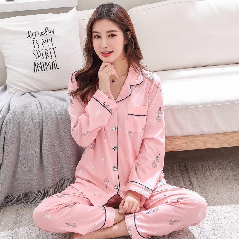 韩版秋款纯棉可外穿女睡衣套装