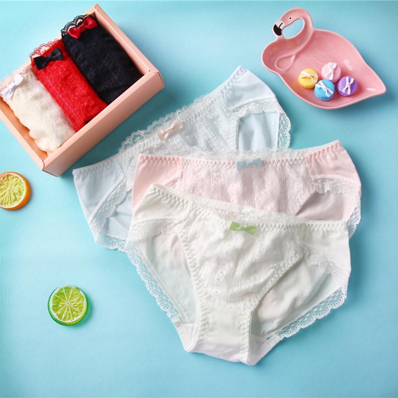 3条礼盒装学生少女日系内裤女纯棉盒装性感蕾丝边中腰低腰三角裤