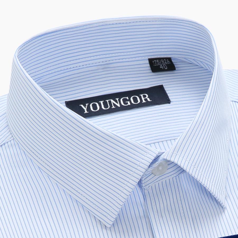 雅戈尔衬衫男长袖四季格子条纹商务休闲正装纯棉中年工装白色衬衣