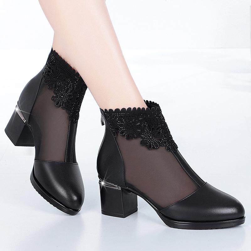 真皮凉靴女皮鞋春夏粗跟网纱女靴中跟鞋大码包头凉鞋41镂空网靴43图片