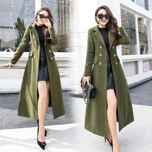 军绿色过膝加长款羊毛呢子大衣女装秋冬装修身显瘦昵尼妮子外套褂