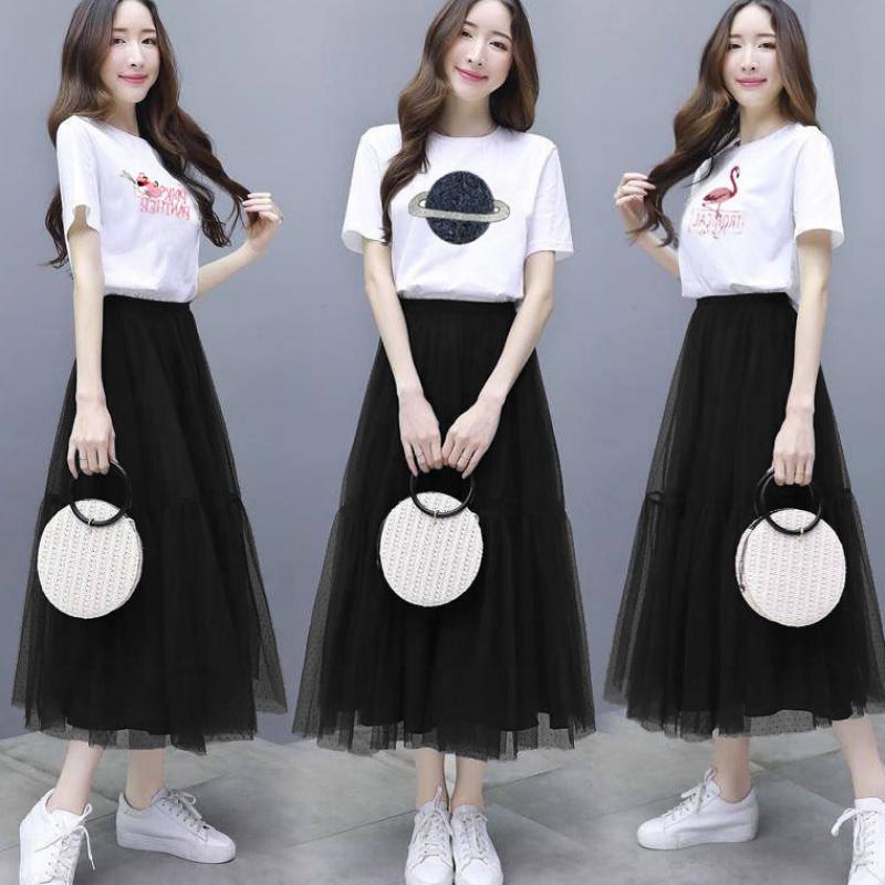 2020新款短袖T恤连衣裙夏季韩版流行裙子网纱裙套装时尚两件套装