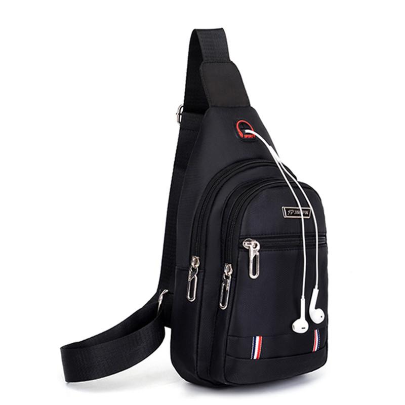 新款胸包男士包包单肩斜挎包休闲斜跨包牛津布胸前斜背包潮小男包有赠品