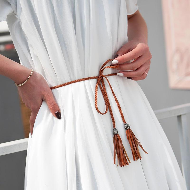 Literature and art RETRO forest womens department national style weaving tassel white cotton belt womens fine decorative rope dress versatile