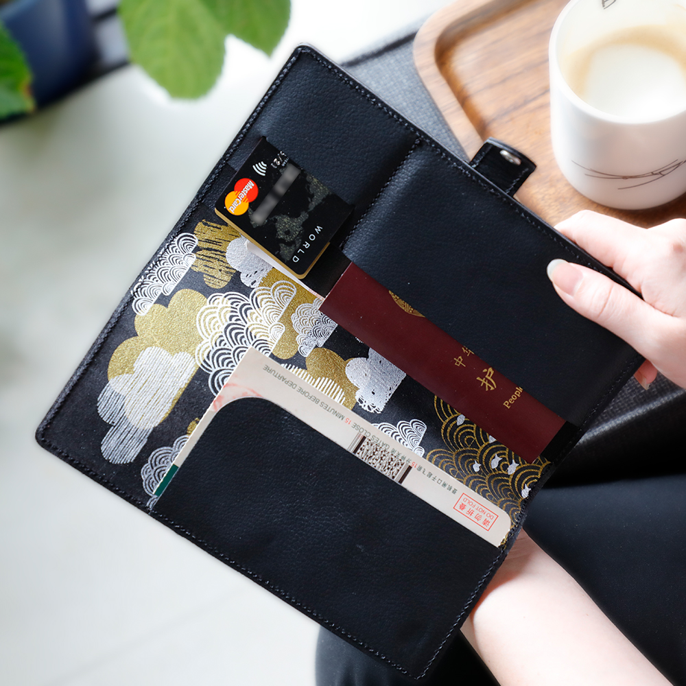 Guochao buckle, hand printed leather travel ticket clip, passport card, multi-functional wallet customization