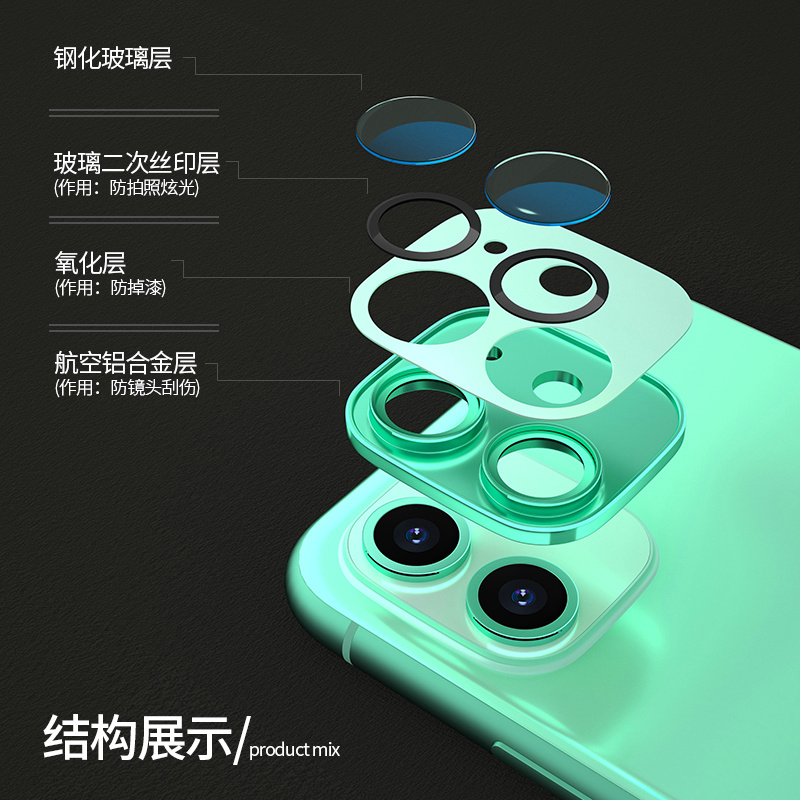 IPhone 11 lens film Apple 11 lens protective film 11 promax lens paste protective ring rear camera protective ring 11 DIY color change anti falling accessories tempered film lens ring