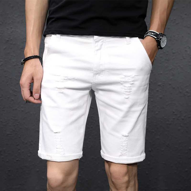 夏季白色破洞牛仔短裤男五分裤韩版潮流宽松弹力5分休闲马裤男潮