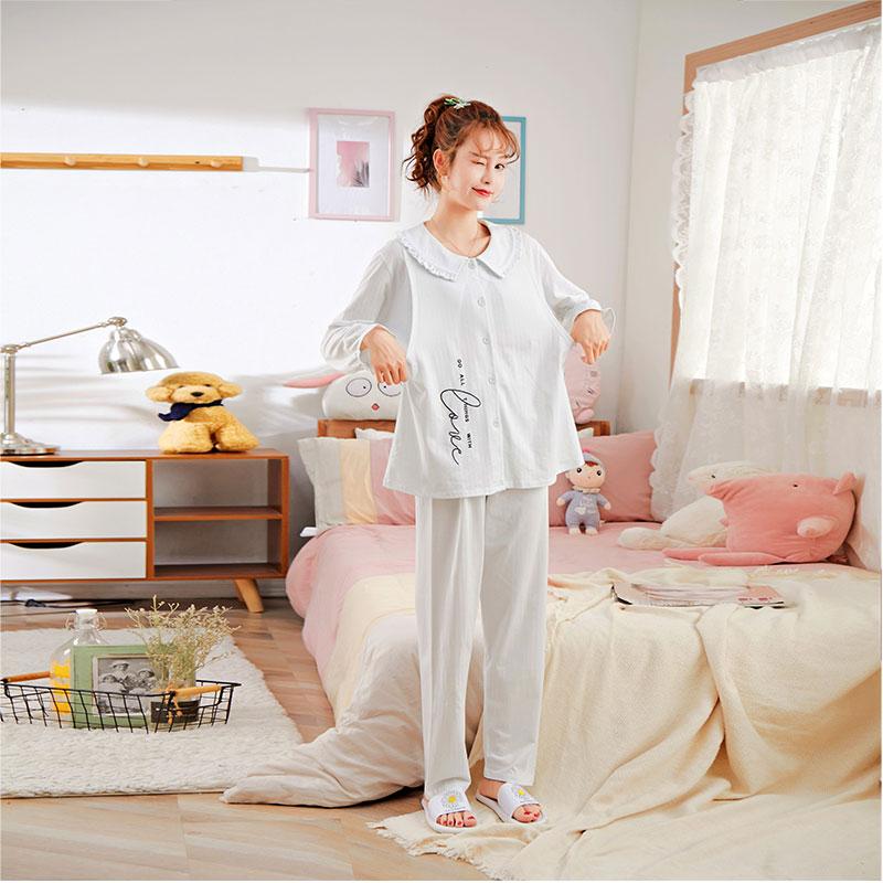 2020年夏季新款宽松透气简约休闲长款麻棉孕妇哺乳装月子服