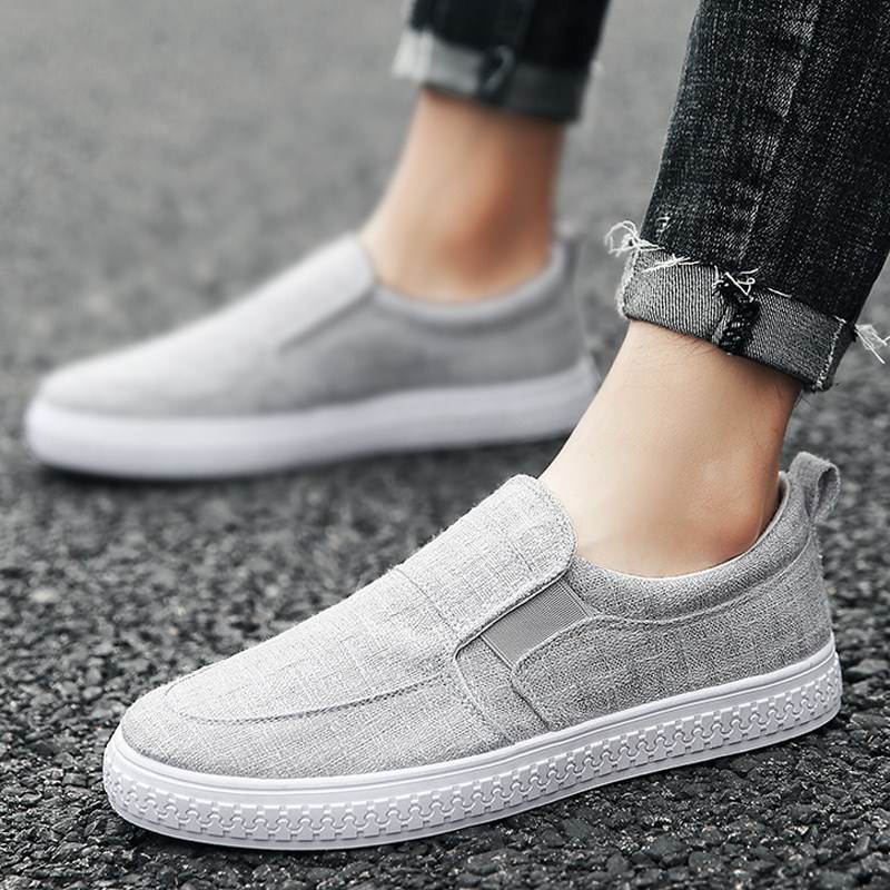 Autumn linen canvas shoes simple lazy shoes one foot pedal cloth shoes lazy shoes grey flat shoes shoeless mens shoes