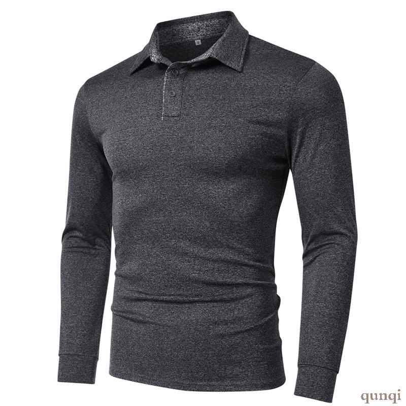 Mens Polo Shirt Long Sleeve quick drying sports mens long sleeve T-shirt polo shirt