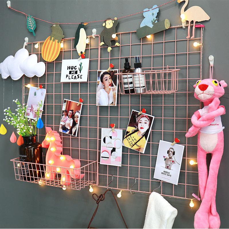 网红铁艺网格照片置物架壁挂墙上照片架子挂墙创意格子悬挂相框