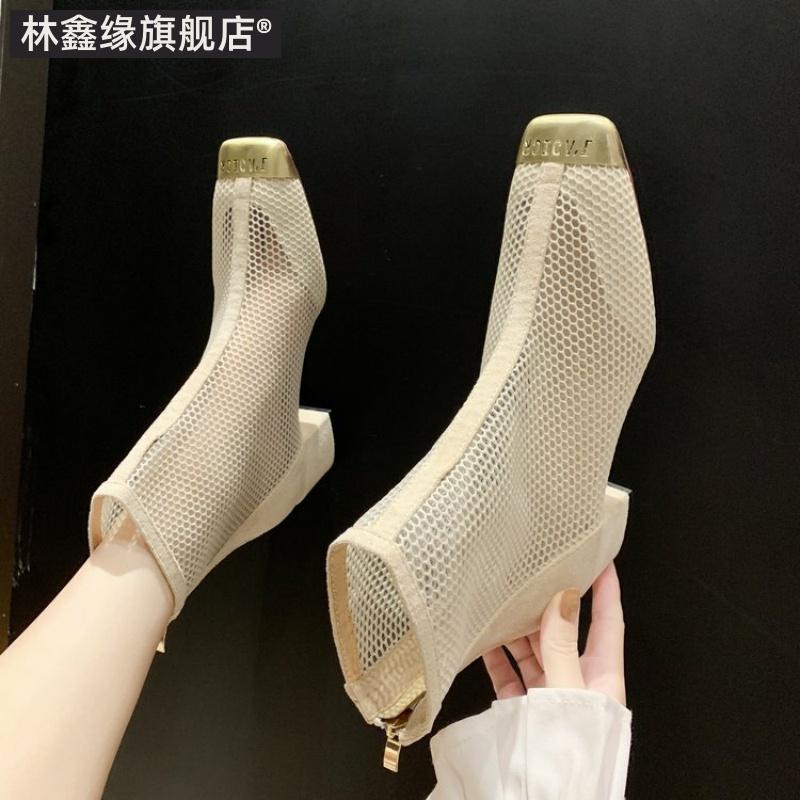 马丁靴女夏季短靴透气2019潮鞋新款网靴中跟网纱镂空凉鞋粗跟靴子