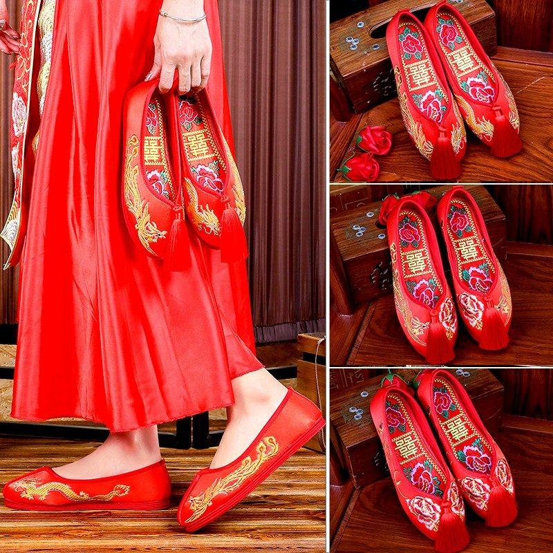 21 new Xiuhe shoes flat bottomed bride wedding shoes embroidered shoes female wedding pregnant women tassel Xiuhe clothes Chinese red cloth shoes
