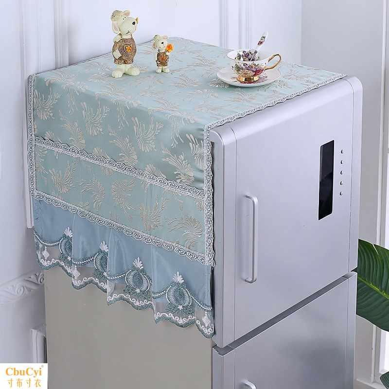 。装饰无纺布冰箱防尘罩家用冰箱罩收纳挂袋家电器布艺防尘盖布