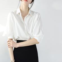 TRR 轻松搭出美感 少女灯笼袖宽松人棉白衬衫 中袖上衣舒适衬衣夏