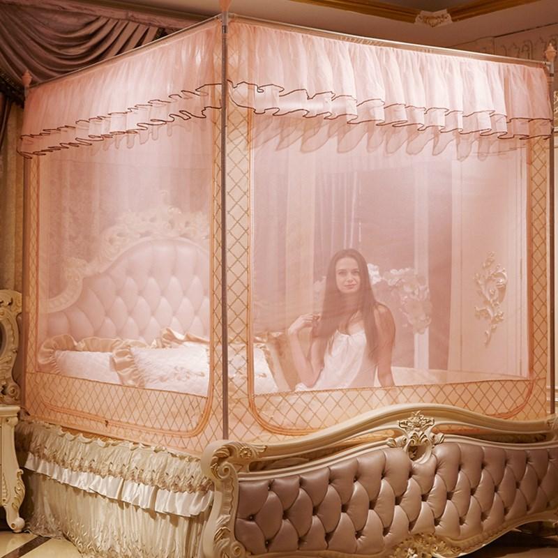 宝宝防摔防掉床蚊帐1.5m1.8坐床全底加高儿童公主拉链方帐三开门