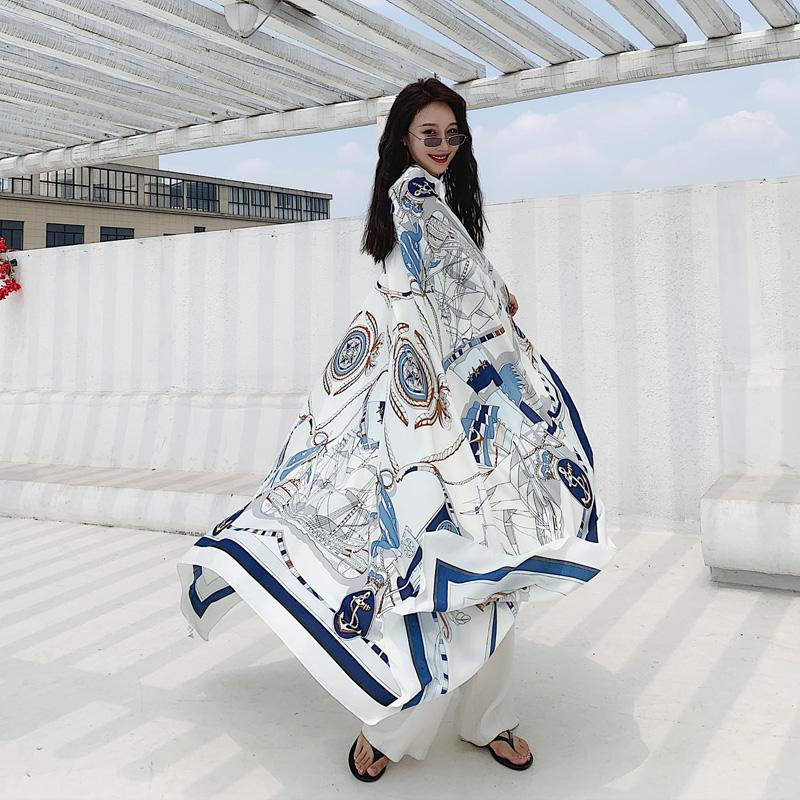 防晒沙滩巾海边丝巾百搭超大旅游拍照秋冬披肩两用纱巾女茶卡盐湖