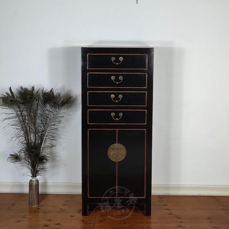 新中式实木黑色衣柜书柜文件柜复古文件柜仿古家具角柜客厅装饰柜