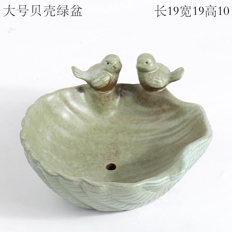 高档小鸟兔子青蛙猫头鹰鸭子庭院创意园艺多肉花盆摆件陶瓷小黄鸭