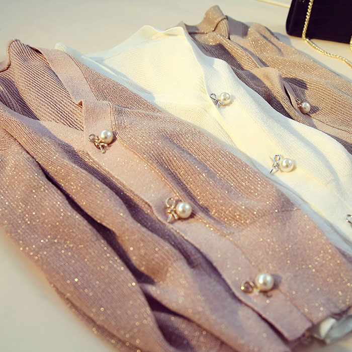 针织外套冰丝薄款短款宽松洋气开衫