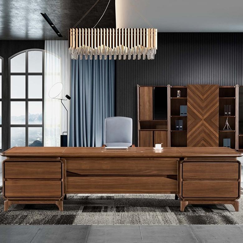 新中式办公桌老板台简约现代总裁桌单人实木大班台办公室家具大气