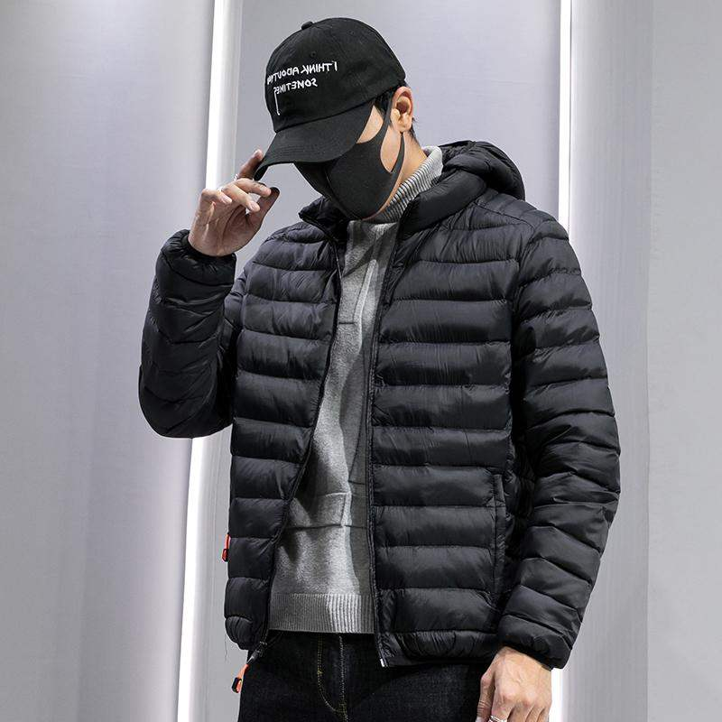 Mens cotton padded jacket 2020 new slim fashion brand light down cotton padded jacket short student handsome hooded cotton padded jacket