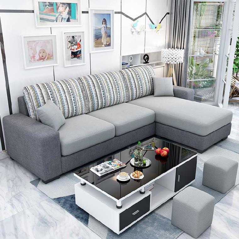 。地中海欧式沙发转角现代样板间面料美式家里网红7字型个性新款