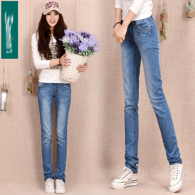 Spring and summer new thin womens pants jeans womens middle school low waist Slim Slim small straight tube student pants pants