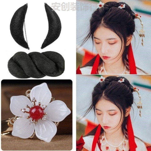 Wig with clear hair, ancient costume, wig, movie studio, ox horn, all-purpose pad, hair bun, combination of ancient Chinese costume and Hanfu