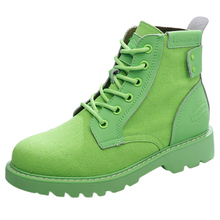 British Wind Martin Boots New Green Flat-heeled Air-breathable Slim Motorcycle Short Barrel Desert Boots for Summer 2019