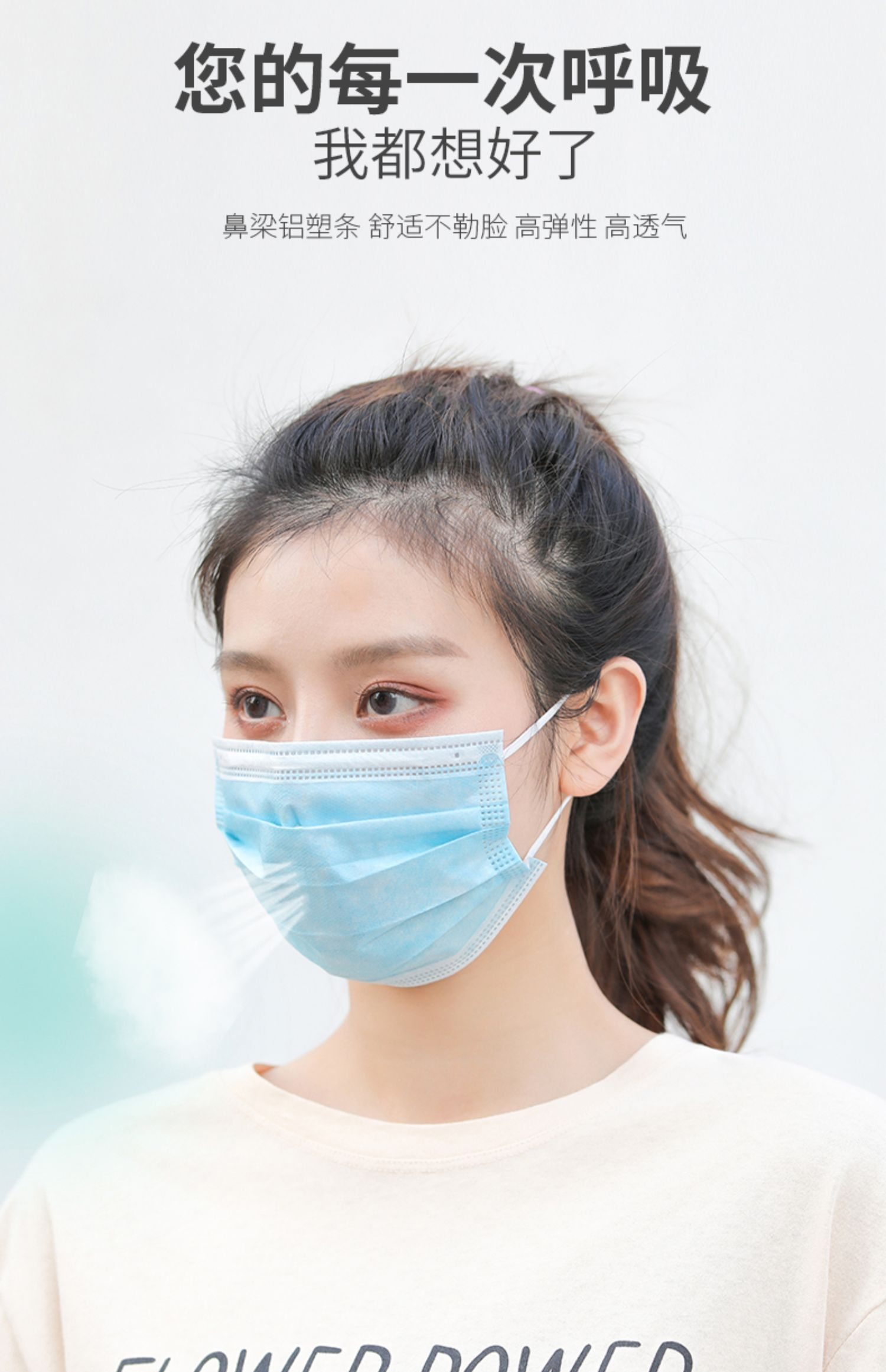 Kn95 mask five layer protective disposable mask for dust prevention, haze prevention, exhaust prevention and ventilation