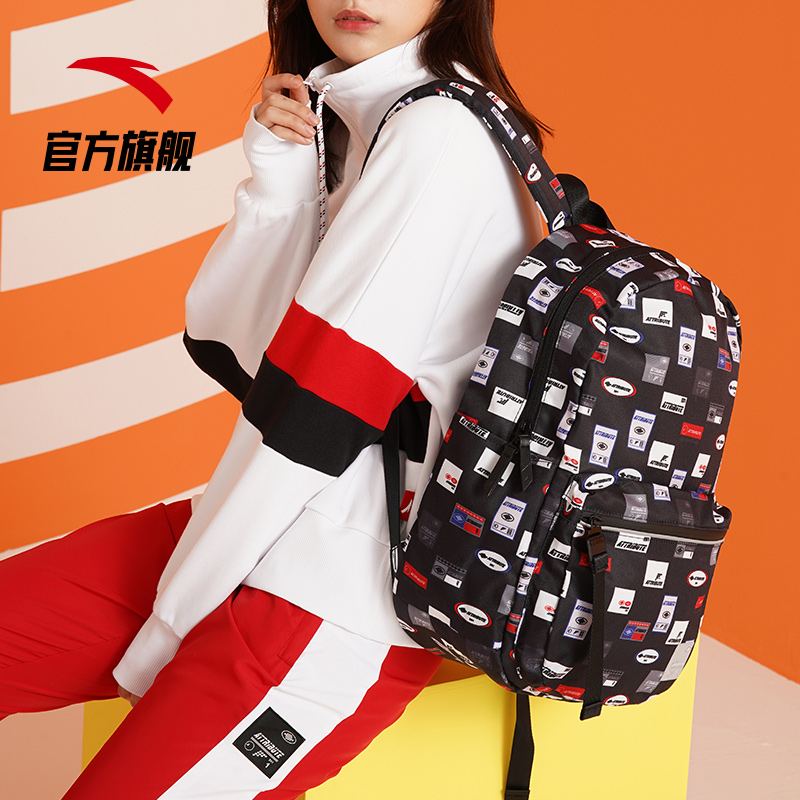 Anta backpack 2020 new outdoor men and women black backpack student school bag computer bag sports travel bag