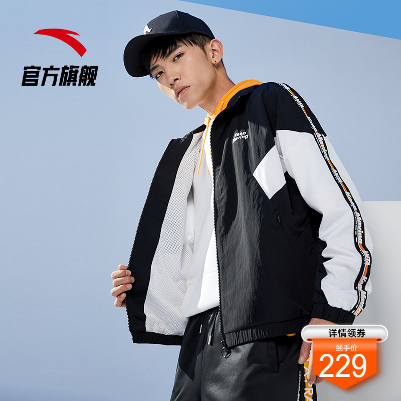 Anta coat men's wind clothing 2021 spring new woven sports jacket cardigan sportswear tide official flagship