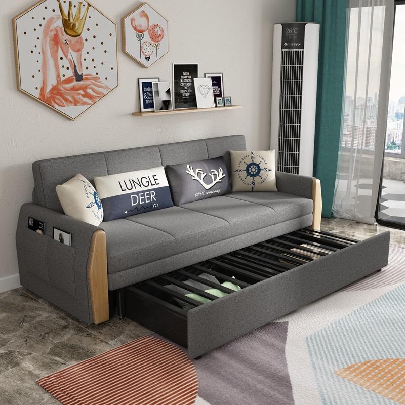热销0件有赠品可折叠沙发床两用双人北欧实木床