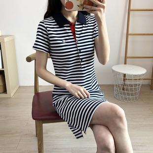 夏T恤裙 式 polo领条纹休闲衬衫 保罗运动连衣裙A字裙女大码 韩版 短袖