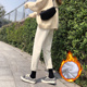 米白色牛仔裤女直筒宽松2020新款秋冬加绒高腰显瘦阔腿萝卜老爹裤