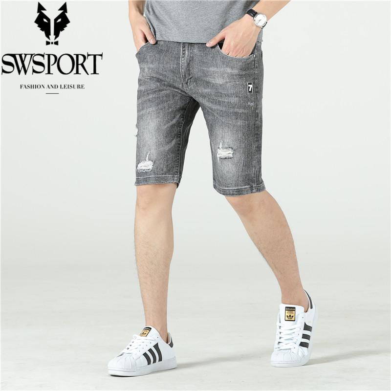 SWSPORT/奔狼牛仔短裤男夏季五分裤男士宽松直筒5分工装中裤子潮