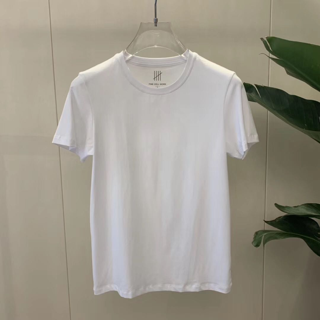 New round neck short sleeve t-shirt mens pure color light version simple base shirt single wear pure black versatile casual pure white