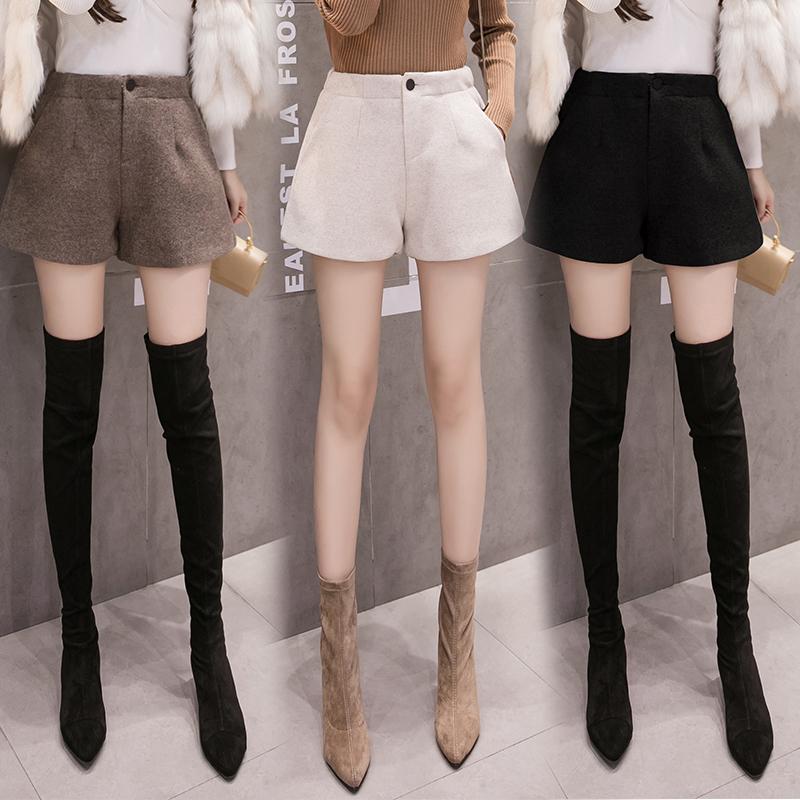 毛呢短裤女秋冬季2018新款高腰外穿阔腿休闲打底加厚黑色呢子靴裤