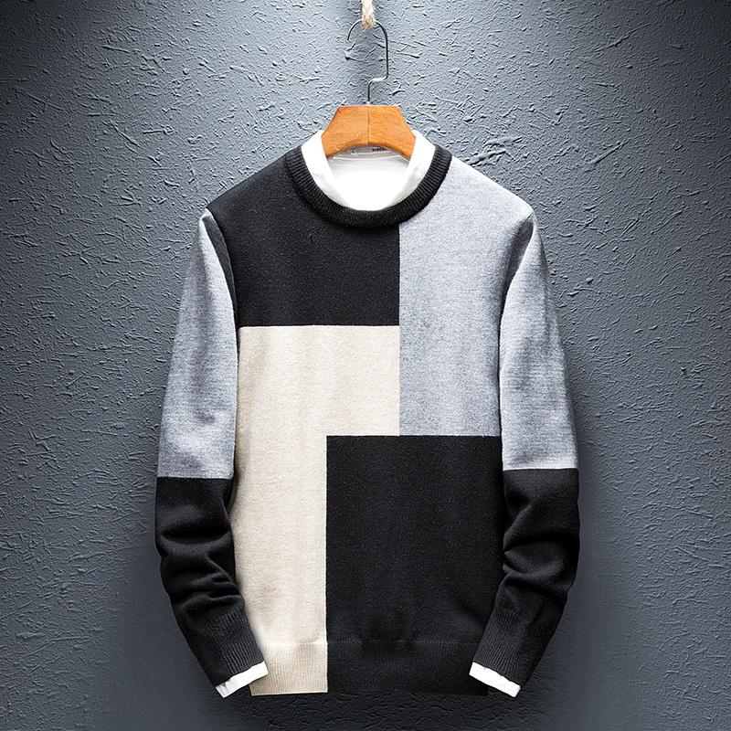 针织衫男2018新款修身男士长袖T恤休闲长袖圆领衣服韩版潮流毛衣