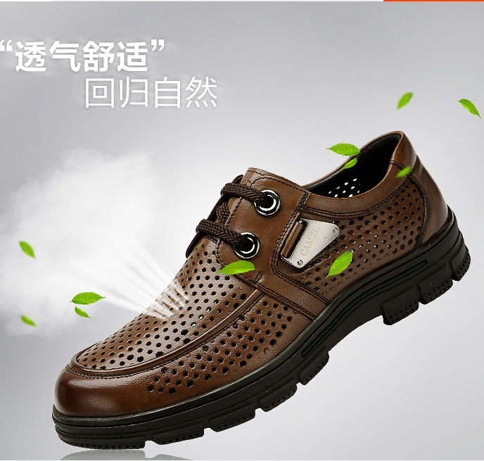 Summer camel mens mesh sandals mens formal wear perforated breathable business leather sandals large hole casual leather shoes