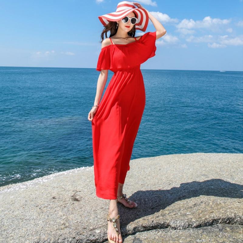 海边度假显瘦巴厘岛马尔代夫沙滩裙超仙百褶吊带雪纺连衣裙夏长裙