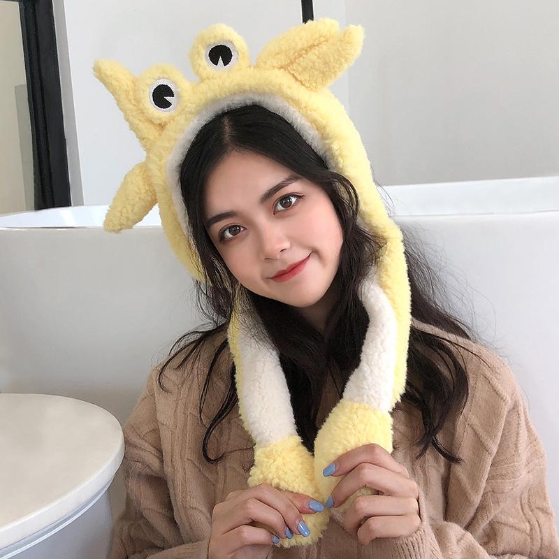 耳罩冬天女生保暖耳套折叠耳包可爱女生螃蟹护耳朵防冻耳捂子耳帽