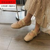 单鞋女2020春季新款平底仙女风女学生浅口豆豆鞋绒面绑带芭蕾舞鞋