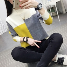 Sujian knitwear women's loose and lazy spring autumn winter three season new top round neck long sleeve color matching tricolor sweater