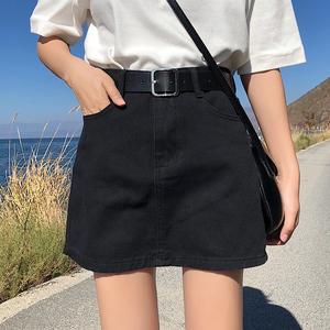 大碼a字牛仔半身裙女夏季2021新款高腰牛仔裙顯瘦百搭包臀裙短裙