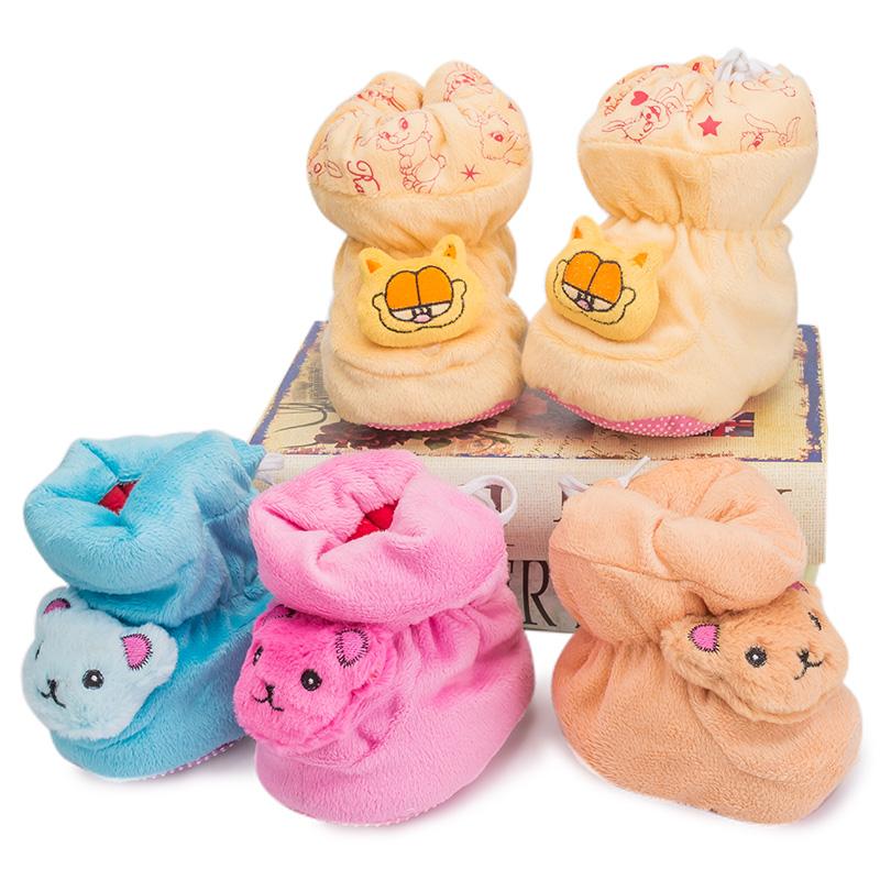 新生婴儿保暖棉鞋冬季宝宝学步鞋加厚男女款卡通可爱软底棉靴C