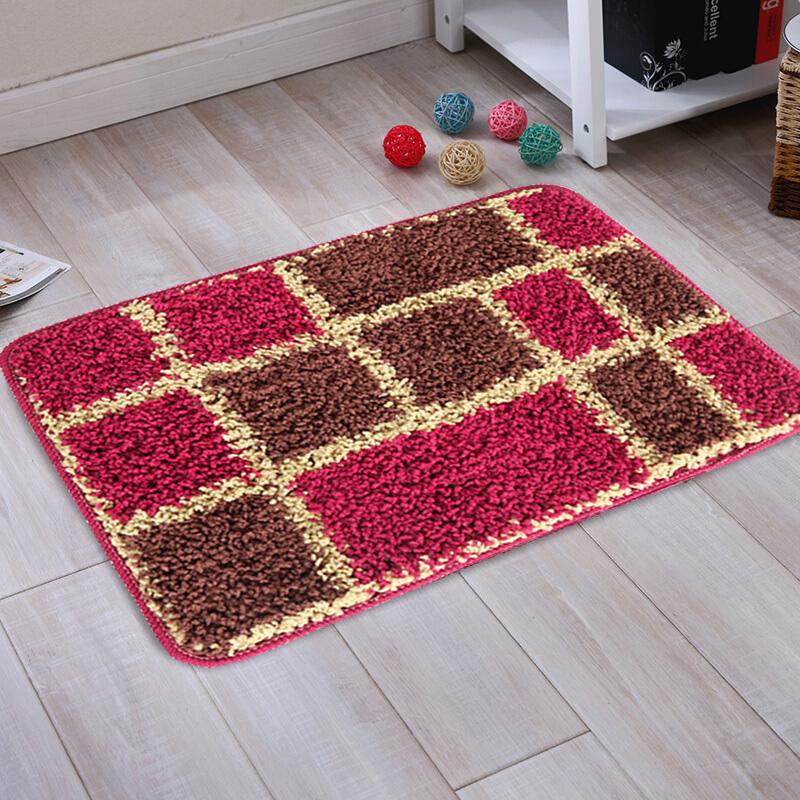 现代简约家用进门地垫玄关地毯卫浴厨房红格子吸水脚垫浴室防滑垫