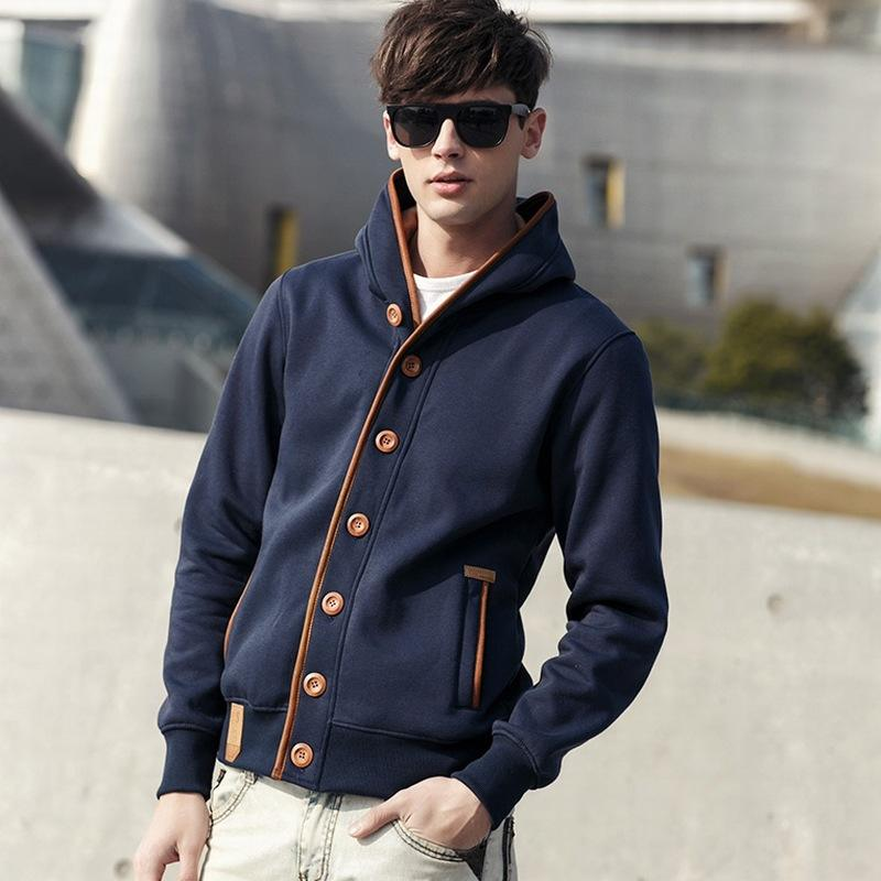Top grade authentic mens hooded casual sweater solid color cardigan sweater mens youth coat Euro American style Hoodie